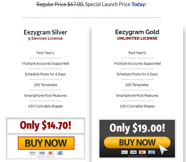 Cost of Eezygram Software